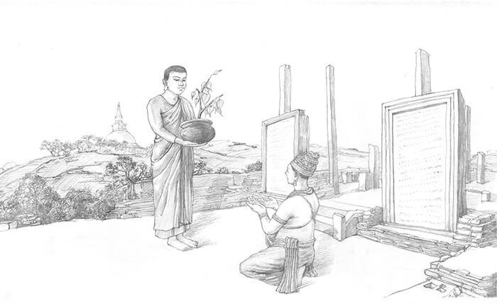 Theravada Buddhism spreads to Sri Lanka